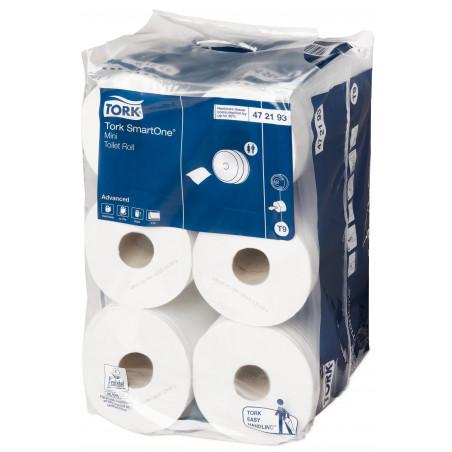 Tork - 12 rouleaux de 620 feuilles de papier toilette Smart One T9 - Blanc