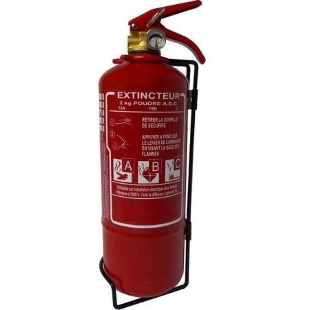 Extincteur poudre polyvalente 2kg-Classe de feu ABCE-Pression permanente